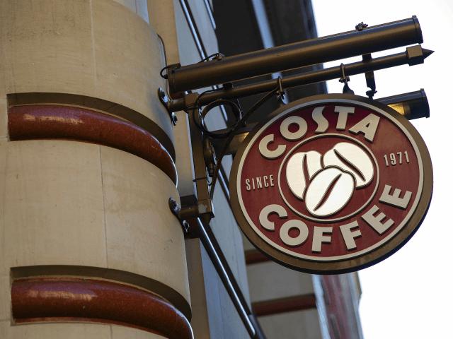 LONDON, ENGLAND - AUGUST 31: A Costa Costa coffee shop sign on August 31, 2018 in London, England. Coca-Cola Co.is to buy the U.K. chainCosta Coffeefor £3.9 billion GBP, ($5.1 billion USD). (Photo by Dan Kitwood/Getty Images)