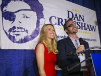 "In this Tuesday, May 22, 2018, file photo, Republican congressional candidate Dan Crenshaw reacts to the crowd with his wife, Tara, as he comes on stage to deliver a victory speech during an election night party at the Cadillac Bar, in Houston. Crenshaw has chided ""Saturday Night Live"" comic Pete …"