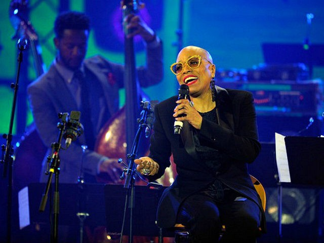 PARIS, FRANCE - APRIL 30: Dee Dee Bridgewater and Ben Williams perform on stage during the International Jazz Day 2015 Global Concert at UNESCO on April 30, 2015 in Paris, France. (Photo by Kristy Sparow/Getty Images for Thelonious Monk Institute of Jazz)