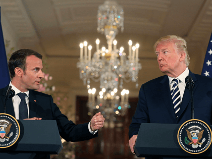 US President Donald Trump and French President Emmanuel Macron hold a joint press conference at the White House in Washington, DC, on April 24, 2018. (Photo by LUDOVIC MARIN / AFP) (Photo credit should read LUDOVIC MARIN/AFP/Getty Images)