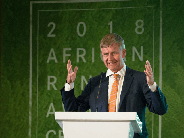 Erik Solheim, United Nations Environment Executive Director and Under-Secretary-General of the United Nations addresses the first annual African Ranger Awards ceremony in Cape Town on August 7, 2018.