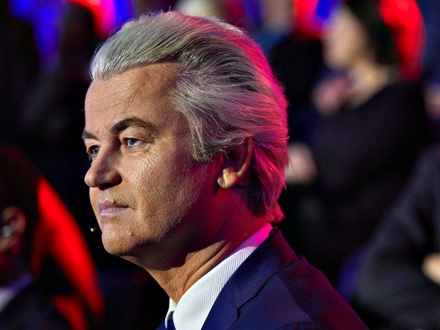 Geert Wilders of the Freedom Party (PVV) is pictured ahead of a televised debate between the eight top party leaders in The Hague on March 14, 2017, a day before the parliamentary elections. / AFP PHOTO / POOL / Phil NIJHUIS (Photo credit should read PHIL NIJHUIS/AFP/Getty Images)