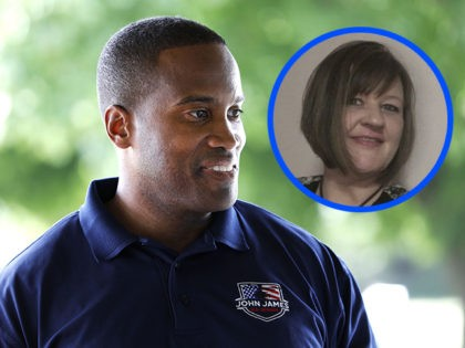 LEONARD, MI - AUGUST 5: John James, Michigan Republican candidate for the U.S. Senate, campaigns at the Johnstone Supply Picnic at Adison Oaks County Park August 5, 2018 in Leonard, Michigan. James, a West Point graduate and Iraq war veteran, has received President Trump's endorsement. (Photo by Bill Pugliano/Getty Images)