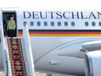 German Chancelor Angela Merkel gets off her plane arrives in Yerevan on August 24, 2018, as part of her three day visit to South Caucasus former Soviet States - Georgia, Armenia and Azerbaijan. (Photo by Karen MINASYAN / AFP) (Photo credit should read KAREN MINASYAN/AFP/Getty Images)