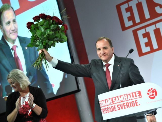 Prime minister and party leader of the Social democrat party Stefan Lofven addresses supporters at an election night party following general election results in Stockholm on September 9, 2018. (Photo by Claudio BRESCIANI / TT NEWS AGENCY / AFP) / Sweden OUT (Photo credit should read CLAUDIO BRESCIANI/AFP/Getty Images)