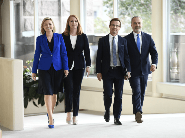 The Alliansen party leaders (L-R) Ebba Busch Thor of the Christian Democratic Party, Annie Loof of the Swedish Center Party, Ulf Kristersson of the Moderates and Jan Bjorklund of the Liberals arrive for a press conference at the Swedish Parliment in Stockholm, on September 12, 2018. (Photo by Henrik MONTGOMERY …