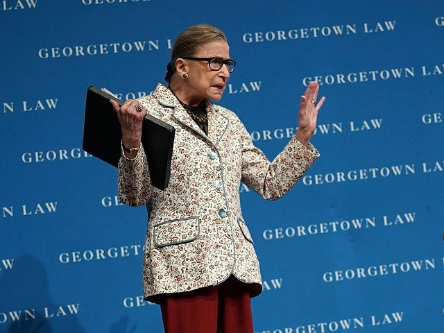 WASHINGTON, DC - SEPTEMBER 26: U.S. Supreme Court Justice Ruth Bader Ginsburg (R) waves to students as she arrives at a lecture September 26, 2018 at Georgetown University Law Center in Washington, DC. Justice Ginsburg discussed Supreme Court cases from the 2017-2018 term at the lecture. (Photo by Alex Wong/Getty …