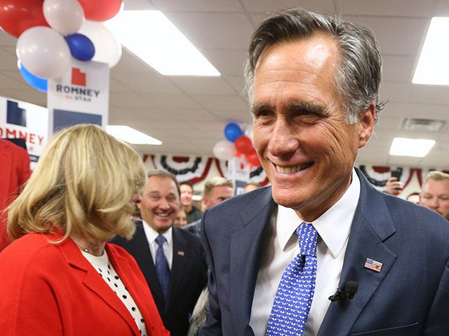 OREM, UT - NOVEMBER 6: Republican U.S Senate candidate Mitt Romney and his wife Ann greet supporters as he leaves his election night party on November 6, 2018 in Orem, Utah. Romney is running to replace retiring Utah Republican Senator Orin Hatch who has been in the Senate for over …