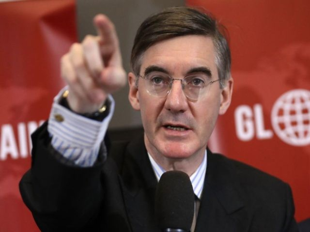 Conservative MP Jacob Rees-Mogg takes questions after a joint press conference of the European Research group and Global Britain in central London on November 20, 2018. - Eurosceptic members of May's divided party seized the moment to launch a leadership challenge, but have yet to muster the support needed for …