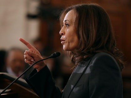 WASHINGTON, DC - NOVEMBER 13: Sen. Kamala Harris (D-CA) addresses a post-midterm election meeting of Rev. Al Sharpton's National Action Network in the Kennedy Caucus Room at the Russell Senate Office Building on Capitol Hill November 13, 2018 in Washington, DC. Politicians believed to be considering a run for the …