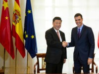 MADRID, SPAIN - NOVEMBER 28: Spanish Prime Minister Pedro Sanchez (R) shakes hands with Chinese President Xi Jinping after signing agreements between both countries at Moncloa Palace on November 28, 2018 in Madrid, Spain. Xi Jinping is on a tour to sign investment projects and trade agreements with Spain as …
