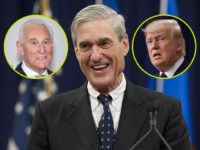(INSETS: Roger Stone, Donald Trump) Federal Bureau of Investigation (FBI) Director Robert Mueller laughs during a farewell ceremony in his honor at the Department of Justice on August 1, 2013. Mueller is retiring from the FBI after 12-years in the post. AFP PHOTO / Saul LOEB (Photo credit should read …