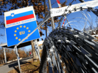 A picture taken on December 19, 2015 shows a razor-wire fence on the Lucija Brezovica border crossing rolled out by Slovenia on Croatia's border to block the path of migrants. / AFP / STRINGER (Photo credit should read STRINGER/AFP/Getty Images)