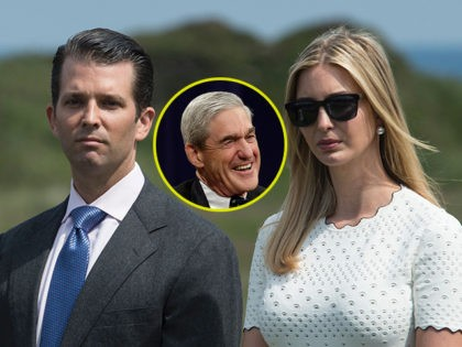 (INSET: Robert Mueller) The children of presumptive Republican presidential nominee Donald Trump, Ivanka Trump (R), Donald Trump Jr. (C) and Eric Trump, listen as thir father delivers a speech at the official opening of his Trump Turnberry hotel and golf resort in Turnberry, Scotland on June 24, 2016 Donald Trump …