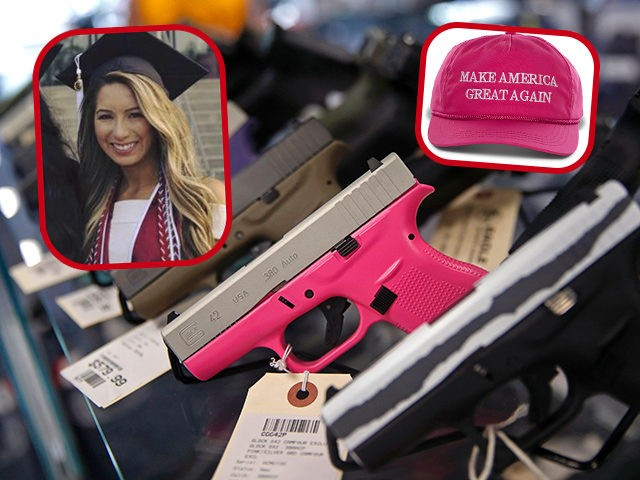 (INSET: Harvard student Leyla Pirnie) A gun with a pink grip is seen for sale at the Eagle Sports gun range in Oak Forest, Illinois, July 16, 2017. (Photo by JIM YOUNG / AFP) / With AFP Story by Nova SAFO: A gun club for Chicago women concerned about violence …