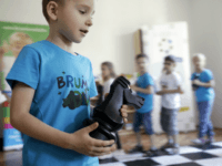 Children play chess on June 14, 2017 at the 'Brumi' preschool in Budapest, with the teaching method Judit Polgar's Chess playground. Raised in Communist Hungary to be a prodigy of chess, Judit Polgar became the best. As a young retired chesss player, she trains children with a very different method: …