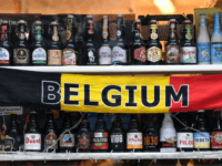 Belgian beers are displayed in a shop window in Brussels on February 8, 2018 (Photo by Emmanuel DUNAND / AFP) (Photo credit should read EMMANUEL DUNAND/AFP/Getty Images)