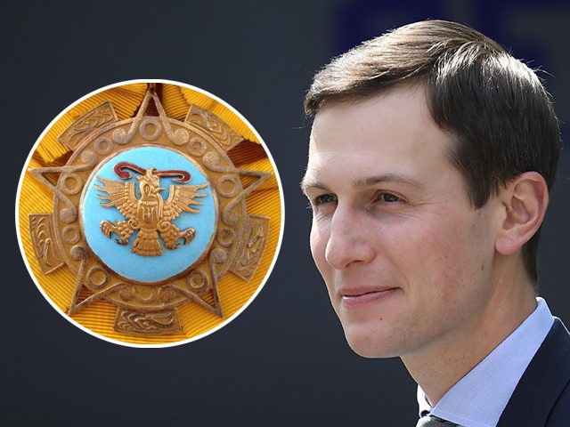(INSET: Order of the Aztec Eagle pendant) WASHINGTON, DC - MAY 07: Senior White House advisor Jared Kushner attends an event where Melania Trump spoke in the Rose Garden of the White House May 7, 2018 in Washington, DC. Melania Trump outlined her new initiatives, known as the Be Best …