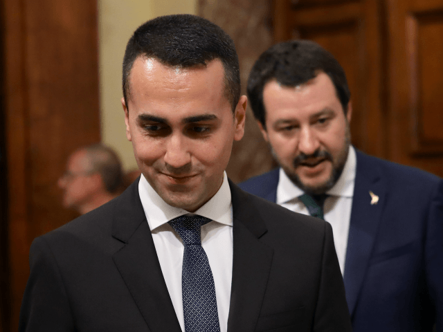 ROME, ITALY - JUNE 01: (L-R) Labor and Industry and Deputy PM Luigi Di Maio and Interior Minister and Deputy PM Matteo Salvini arrives to attend the first session of the council of ministers at Palazzo Chigi on June 1, 2018 in Rome, Italy. Law professor Giuseppe Conte has been …