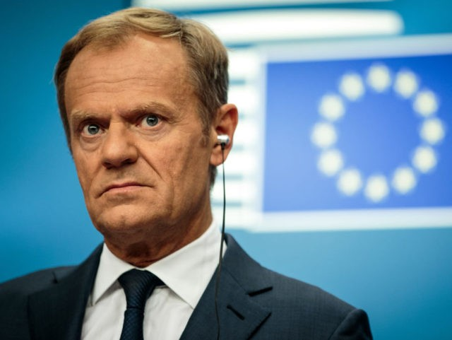 BRUSSELS, BELGIUM - JUNE 29: European Council President Donald Tusk gives a joint press conference with the President of the European Commission and Bulgaria's Prime Minister on the final day of the European Council leaders' summit on June 29, 2018 in Brussels, Belgium. European Leaders today discussed the ongoing Brexit …