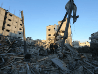 A picture taken early on November 13, 2018 shows the destroyed building which housed the Hamas-run television station Al-Aqsa TV in Gaza City after being targeted by an Israeli air strike the night before. - An Israeli air strike destroyed Hamas's Al-Aqsa TV building in the Gaza Strip late on …
