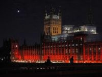 The Houses of Parliament are floodlit red for persecuted Christians