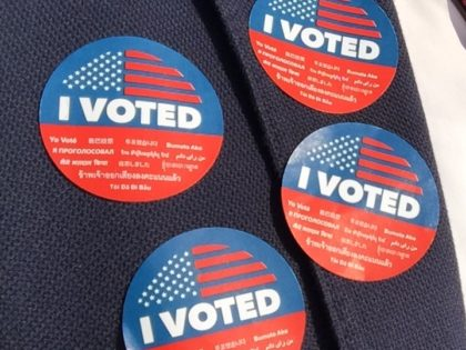I voted stickers (Joel Pollak / Breitbart News)