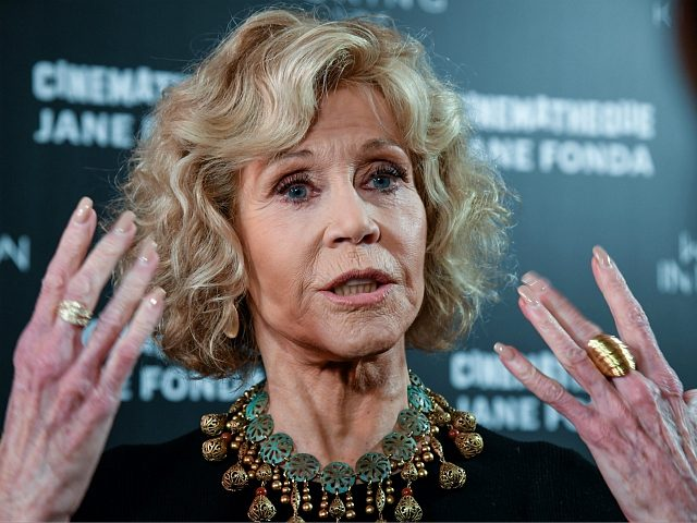 US actress Jane Fonda gestures as she speaks to medias as she attends a retrospective of her career at the Cinematheque de Paris on October 22, 2018. (Photo by BERTRAND GUAY / AFP) (Photo credit should read BERTRAND GUAY/AFP/Getty Images)