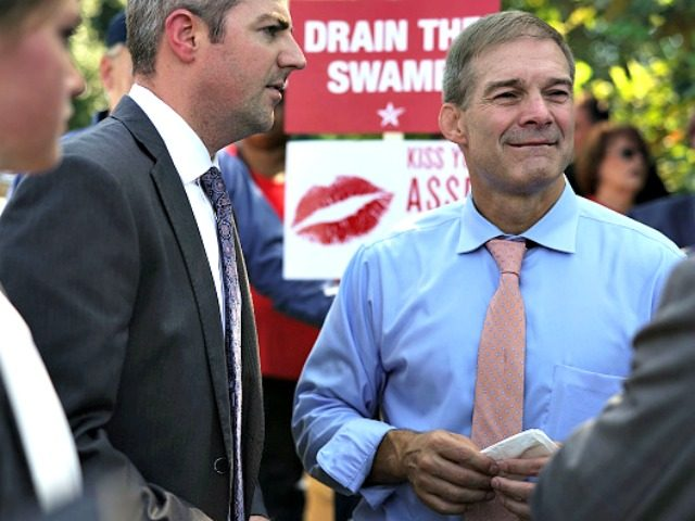 WASHINGTON, DC - SEPTEMBER 26: U.S. Rep. Jim Jordan (R-OH) (R) during a rally hosted by FreedomWorks September 26, 2018 at the West Lawn of the Capitol in Washington, DC. FreedomWorks hosted a rally to support Jordan to run for the House speaker as Òa principled, conservative alternative to current …