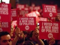 LONDON, ENGLAND - SEPTEMBER 10: Supporters of Jeremy Corbyn, MP for Islington North and candidate in the Labour Party leadership election, listen to speaches at Rock Tower on September 10, 2015 in London, England. Voting closed in the Labour Party leadership contest with the results of which due to be …