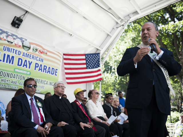 Rabbi Marc Schneider speaks during the during the 32nd Annual Muslim Day Parade Sunday, Sept. 24, 2017 in New York. Rabbi Schneier was named the Honorary Grand Marshal of the parade. (AP Photo/Michael Noble Jr.)