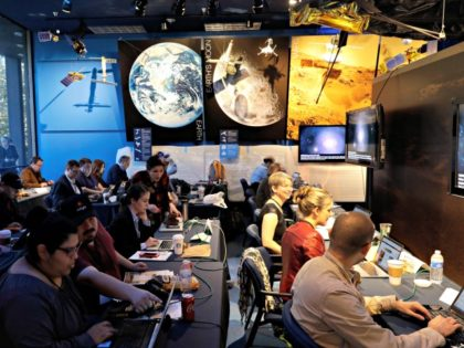 Journalists gather at NASA's Jet Propulsion Laboratory awaiting the landing of InSight on Mars Monday, Nov. 26, 2018, in Pasadena, Calif . A NASA spacecraft is just a few hours away from landing on Mars. The InSight lander is aiming for a Monday afternoon touchdown on what scientists and engineers …