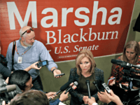 Republican Senate hopeful Marsha Blackburn answers questions during a campaign stop Wednesday, Oct. 17, 2018, in Franklin, Tenn. Wednesday is the first day of Tennessee's early voting.