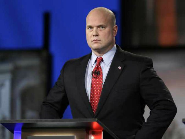 In this April 24, 2014, file photo, then-Iowa Republican senatorial candidate and former U.S. Attorney Matt Whitaker watches before a live televised debate in Johnston, Iowa. President Donald Trump announced in a tweet that he was naming Whitaker, as acting attorney general, after Attorney General Jeff Sessions was pushed out …