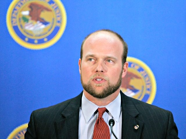 U.S. Attorney Matthew Whitaker speaks during a news conference Wednesday, Dec. 20, 2006, in Des Moines, Iowa. The federal government has charged 23 illegal aliens taken into custody last week at a raid at a Swift & Co. meatpacking plant in Marshalltown, Iowa. Whitaker said Wednesday that the workers were …