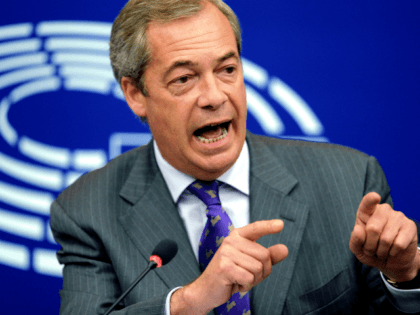 Former leader of the United Kingdom Independence Party (UKIP) Nigel Farage gestures as he speaks during a press conference at the European Parliament in Strasbourg, eastern France, on July 06, 2016. / AFP / FREDERICK FLORIN (Photo credit should read FREDERICK FLORIN/AFP/Getty Images)