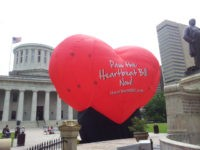 This photo taken June 5, 2012, outside the statehouse in Columbus, Ohio, shows a large balloon in support of the Heartbeat Bill. An Ohio bill that would have imposed the most stringent restriction on abortions in the nation met its end Tuesday. Senators don't plan to vote on the so-called …