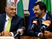 Italy's Interior Minister Matteo Salvini (R) and Hungary's Prime Minister Viktor Orban share a light moment as they address a press conference following a meeting in Milan on August 28, 2018. (Photo by MARCO BERTORELLO / AFP) (Photo credit should read MARCO BERTORELLO/AFP/Getty Images)