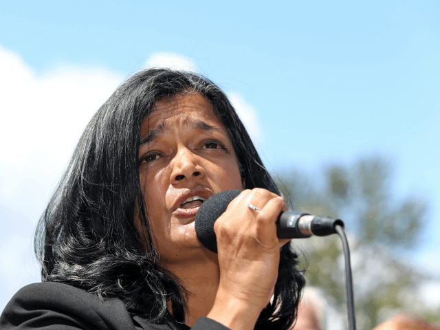 Congresswoman Pramila Jayapal speaks at a press conference outside a Federal Detention Center holding migrant women on June 9, 2018 in SeaTac, Washington. Congresswoman Pramila Jayapal visited the Federal Detention Center-SeaTac to meet with more than 100 asylum seekers, many of whom are women. (Photo by Karen Ducey/Getty Images)