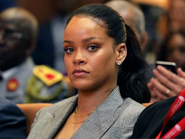 Barbadian singer Rihanna attends the conference 'GPE Financing Conference, an Investment in the Future' organised by the Global Partnership for Education in Dakar on February 2, 2018, as part of Macron's visit to Senegal. The French and Senegalese presidents are co-hosting a conference organised by the Global Partnership for Education, …