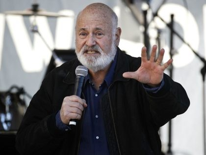 Director Rob Reiner speaks at a Women's March against sexual violence and the policies of the Trump administration Saturday, Jan. 20, 2018, in Los Angeles. (AP Photo/Jae C. Hong)