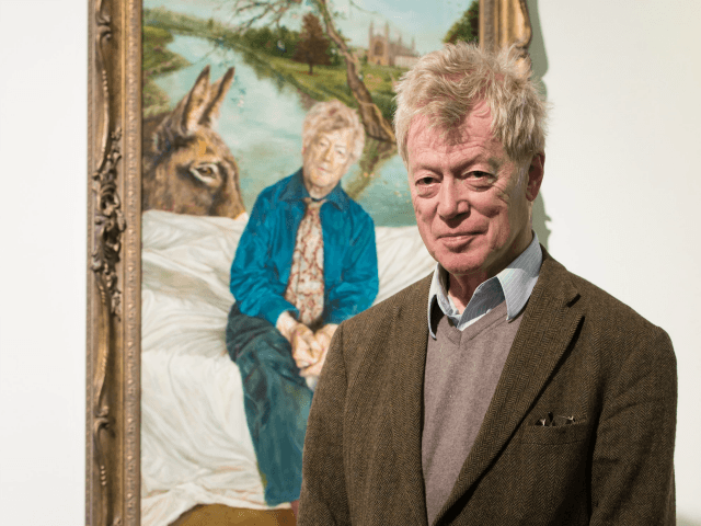 LONDON, ENGLAND - MAY 04: Roger Scruton poses next to his portrait painted by Artist Lantian D at the Royal Society of Portrait Painters Photocall at the Mall Galleries on May 4, 2016 in London, England. (Photo by Ian Gavan/Getty Images)