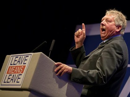 BOURNEMOUTH, ENGLAND - OCTOBER 15: DUP politician Sammy Wilson, who is Member of Parliament (MP) for East Antrim, speaks at the 'Leave Means Rally' at the Bournemouth International Centre on October 15, 2018 in Bournemouth, England. Leave Means Leave is a pro-Brexit campaign, holding a series of rallies and events …