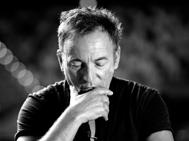 BRISBANE, AUSTRALIA - MARCH 14: (Editor's note: This digital image has been converted to black & white) Bruce Springsteen speaks to the media during a sound-check ahead of the first show of his Wrecking Ball Tour at Brisbane Entertainment Centre on March 14, 2013 in Brisbane, Australia. (Photo by Bradley …