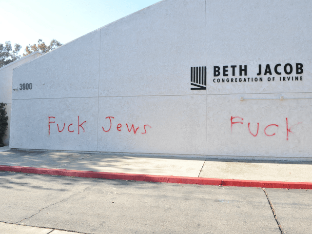 Anti-Semitic graffiti is written on the Beth Jacob Congregation of Irvine on October 31, 2018 in Irvine, California. Antisemitism in the United States has come to the forefront recently in the aftermath of the deadly shooting at the Tree of Life Synagogue in Pittsburgh, Pennsylvania. (Photo by Allen Berezovsky/Getty Images)