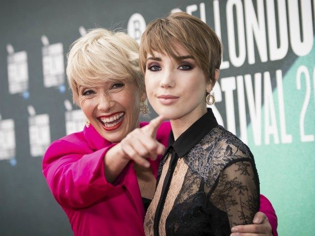 Actress Emma Thompson, left, poses with her daughter Gaia Romilly Wise, for photographers upon arrival at the premiere of the film 'The Meyerowitz Stories' during the London Film Festival in London, Friday, Oct. 6, 2017. (Photo by Vianney Le Caer/Invision/AP)