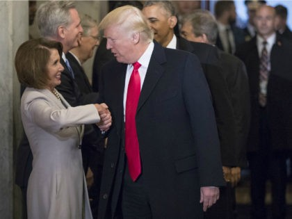 President-elect Donald Trump greets House Minority Leader Nancy Pelosi of Calif., and other Congressional leaders as he arrives for his inauguration ceremony on Capitol Hill in Washington, Friday, Jan. 20, 2017. (AP Photo/J. Scott Applewhite, Pool)