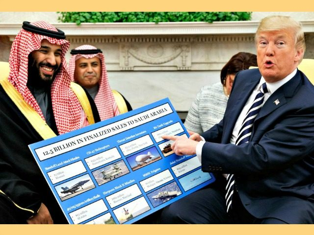 Trump seen with Crown Prince Mohammed in the White House in March has touted billions of dollars' worth of arms deals with Saudis