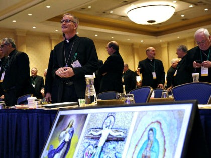 Members of the United States Conference of Catholic Bishops gather for the USCCB's annual fall meeting, Monday, Nov. 12, 2018, in Baltimore. (AP Photo/Patrick Semansky)