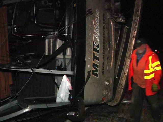 Bus Overturns Carrying University Of Washington Marching Band